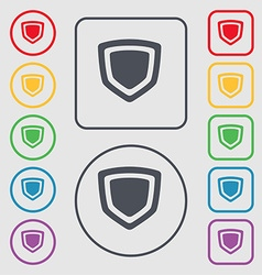 Shield icon sign symbol on the round and square vector