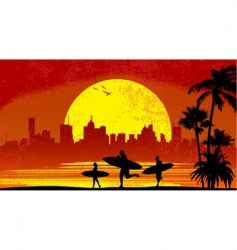 Surfer with sunset vector