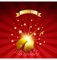 Open magic gift with fireworks from light effect vector