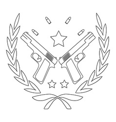 Pistol emblem with bullets line-art vector
