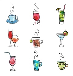 Hand drawn of drinks vector
