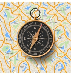 Old compass on map background vector