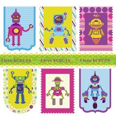 Set of tags - cute little robots vector