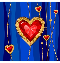 Jewel heart blue vector