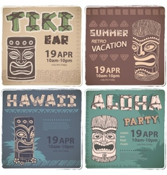 Set of retro hawaiian banners vector