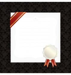 Frame with ribbon and seal vector