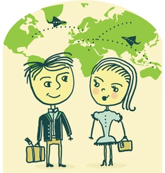 Couple travel vector