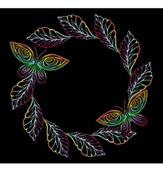 Round frame with leaves and butterflies vector
