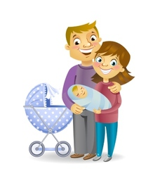 Couple with baby vector