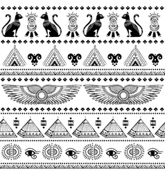 Tribal ethnic seamless pattern with egypt symbols vector