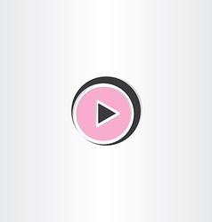 Black and pink play button icon vector
