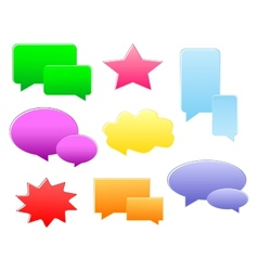 Set of various shapes and colors speech bubbles vector