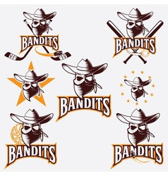 Set of skull bandit sports labels vector