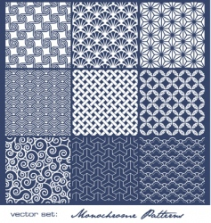Monochrome tile patterns vector