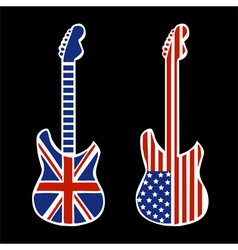 British and american rock and roll guitars vector