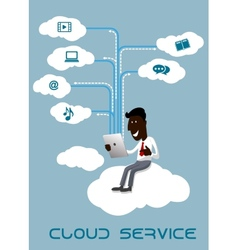 Businessman with tablet sitting on a cloud vector