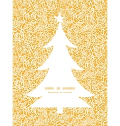Golden lace roses christmas tree silhouette vector