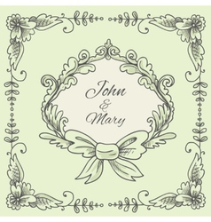 Wedding wreath sketch vector