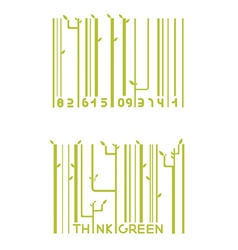 Two green barcode vector