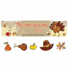 Thanksgiving banner and icons vector