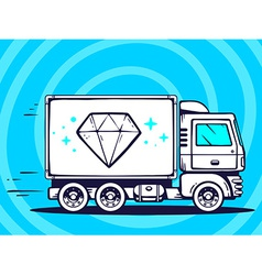 Truck free and fast delivering diamond to vector