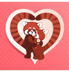 Two red pandas vector