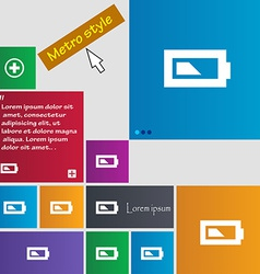 Battery half level icon sign metro style buttons vector