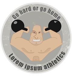 Emblem with strongman holding kettlebells vector