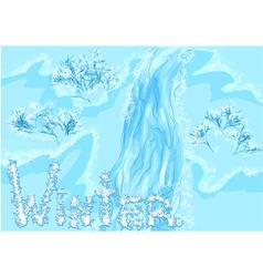 Waterfall winter vector