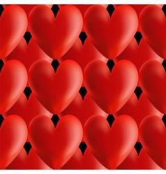 Design seamless red volumetric hearts pattern vector