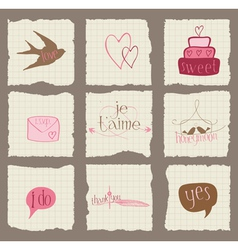 Paper love and wedding design elements -for invita vector