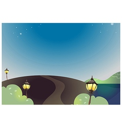 Night landscape with street lamp vector