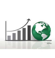 Growth chart and globe vector