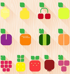 Set of fruits and berries with leaves flat style vector