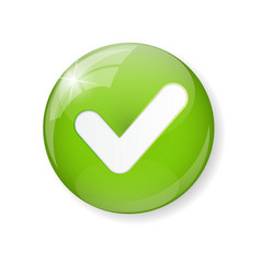 Green check mark icon button vector