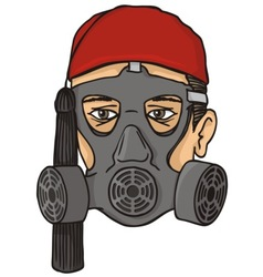 Greek evzone head with gas mask vector