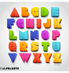 3d alphabet colorful font vector