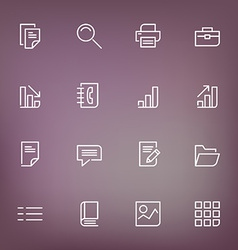 White thin line icons set for web and mobile on vector