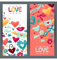 Banners with valentine and wedding icons vector