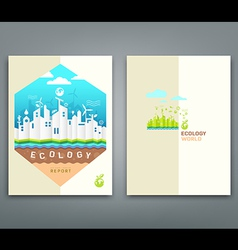 Cover annual report origami building ecology vector