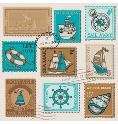 Set of retro sea post stamps vector