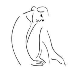 Sitting girl sketch vector