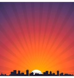 City silhouette at sunrise vector