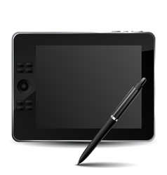 Graphic tablet with pencil vector