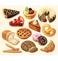 Set of pies and flour products vector