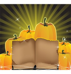 Sparkling pumpkins and the old book vector