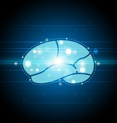Digital brain technology background vector