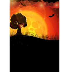 Tree and full moon vector