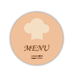 Restaurant label with chef hat and flatware vector