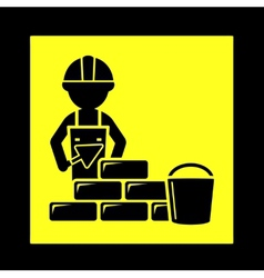 Builder with brick wall icon vector